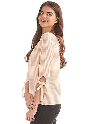 Elle Cut Out Back Striped Top