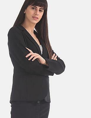 GAP Black Solid Single Breasted Blazer