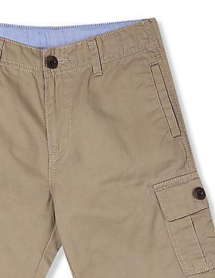 Cherokee Beige Boys Mid Rise Cargo Shorts