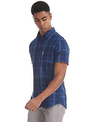 U.S. Polo Assn. Blue Tailored Regular Fit Short Sleeve Shirt