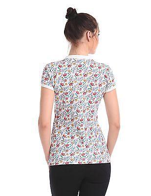 U.S. Polo Assn. Women Regular Fit Floral Print Polo Shirt