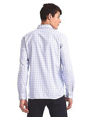 Arrow Blue Check Giza Cotton Shirt