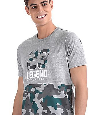 Colt Grey Camo Print Crew Neck T-Shirt