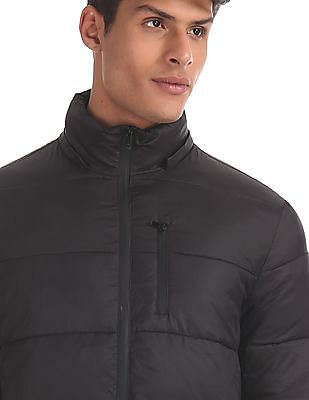 Arrow Sports Black Detachable Hood Quilted Jacket