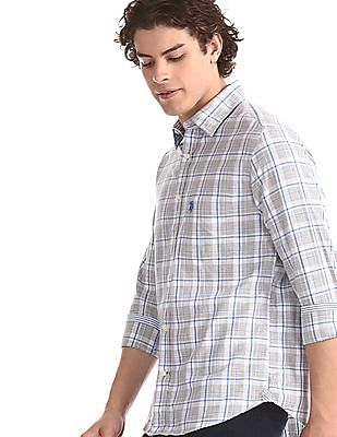 U.S. Polo Assn. Grey Rounded Cuff Check Shirt