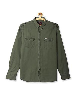 U.S. Polo Assn. Denim Co. Green Twill Weave Solid Shirt