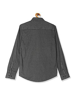 Roots by Ruggers Grey Contemporary Regular Fit Printed Shirt