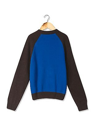 U.S. Polo Assn. Kids Boys Standard Fit Colourblocked Woolen Sweater