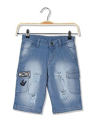 FM Boys Boys Slim Fit Distressed Shorts