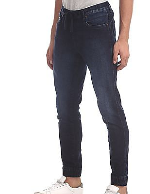 Aeropostale Blue Drawstring Waist Jogger Jeans