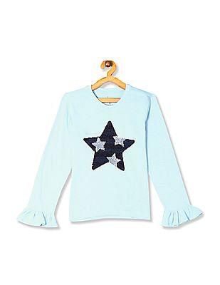 U.S. Polo Assn. Kids Blue Girls Ruffle Sleeve Sequinned Top