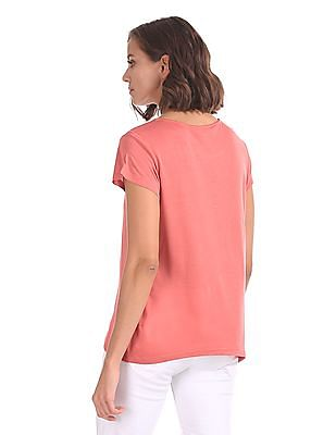Cherokee Short Sleeve Lace Panel Top