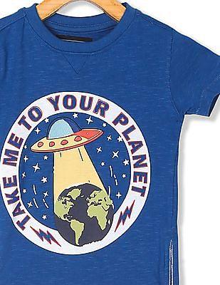 Cherokee Blue Boys Zip Side Printed T-Shirt