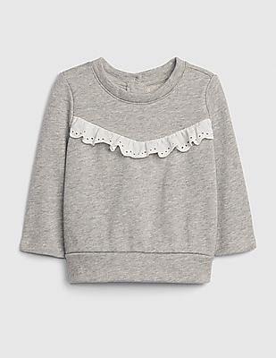 GAP Baby Grey Eyelet Ruffle Sweatshirt