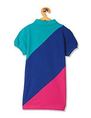 U.S. Polo Assn. Kids Girls Colour Block Cotton Polo Shirt