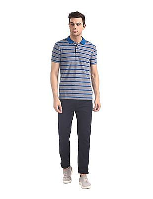 Roots by Ruggers Blue Short Sleeve Striped Polo Shirt