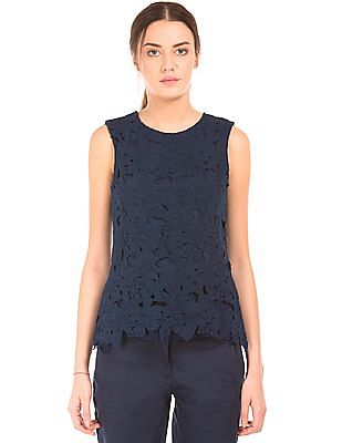 Arrow Woman Lace Overlay Knit Top