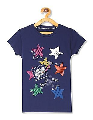 U.S. Polo Assn. Kids Blue Girls Round Neck Graphic T-Shirt