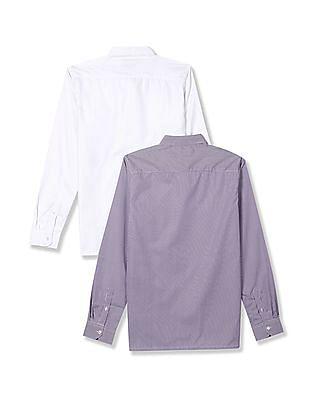 Excalibur Semi Cutaway Collar Mitered Cuff Shirt -  Pack Of 2