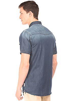 Cherokee Slim Fit Stone Wash Denim Shirt