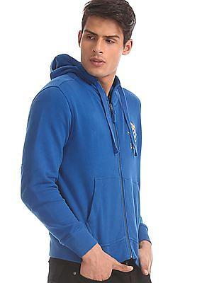 U.S. Polo Assn. Blue Drawstring Hood Solid Sweatshirt