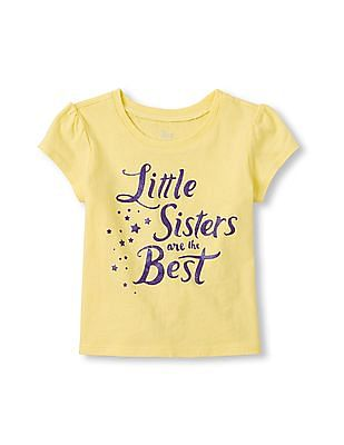 The Children's Place Toddler Girl Short Sleeve 'Little Sisters Are The Best' Graphic Tee