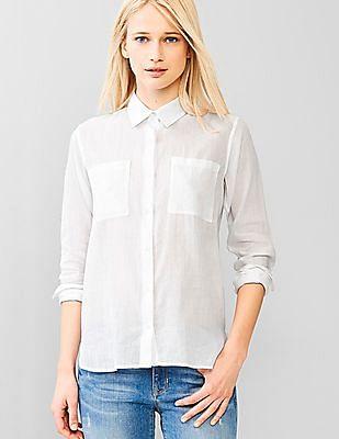 GAP Women White Button-Down Collar Ramie Shirt