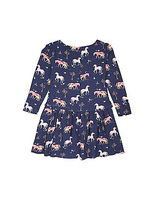 U.S. Polo Assn. Kids Girls Horse Print Fit And Flare Dress