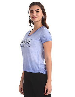 Flying Machine Women Blue Extended Back Hem Washed T-Shirt