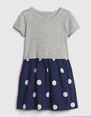 GAP Toddler Girl Dot Mix-Fabric Dress