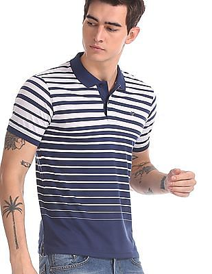 Ruggers Navy And White Regular Fit Striped Polo Shirt