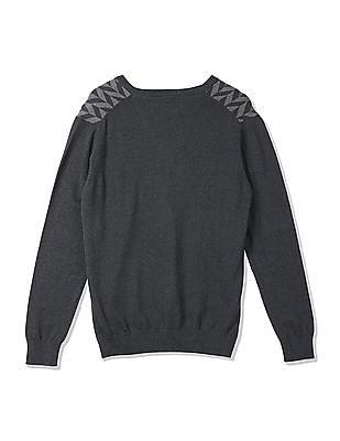 Arrow Sports V-Neck Patterned Sweater