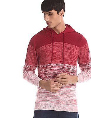Aeropostale Red Knit Pattern Hooded Sweater