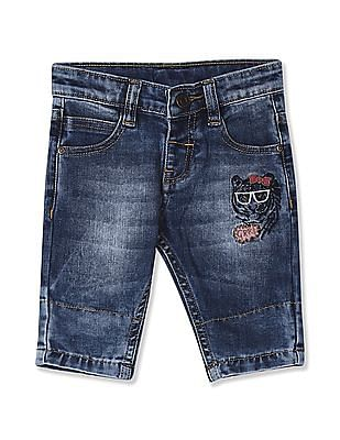 Donuts Blue Girls Stone Wash Denim Shorts
