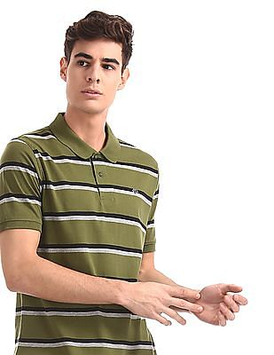 Ruggers Green Ribbed Hem Striped Polo Shirt