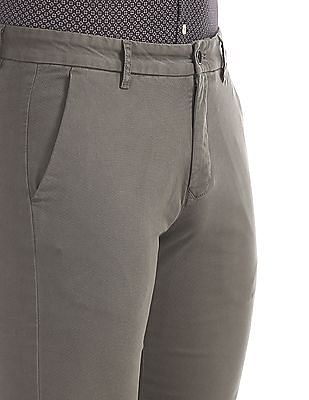 Arrow Sports Green Chrysler Slim Fit Solid Trousers