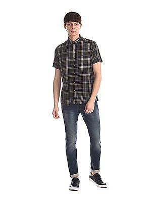 U.S. Polo Assn. Denim Co. Green Spread Collar Check Shirt