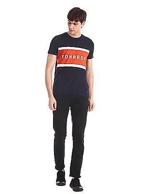 Ed Hardy Blue Brand Print Crew Neck T-Shirt