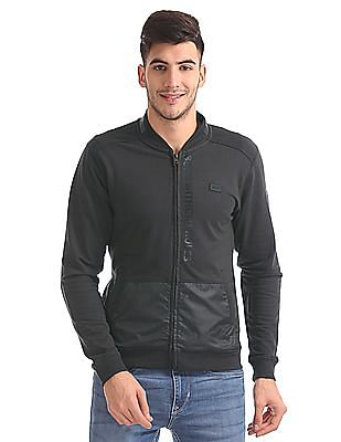 Flying Machine Cut And Sew Panel Zip Up Sweatshirt