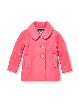 The Children's Place Toddler Girl Pink Long Sleeve Dressy Peacoat