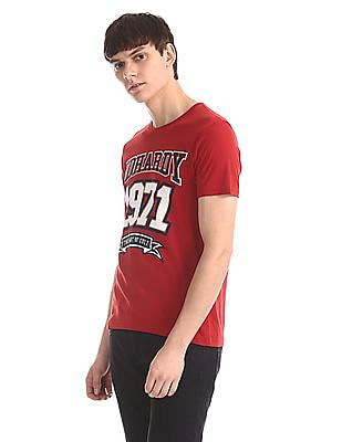 Ed Hardy Red Distressed Print Crew Neck T-Shirt