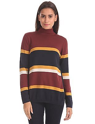 Elle Turtleneck Striped Sweater