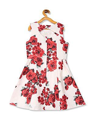 The Children's Place Girls White  Rose Print Fit And Flare Dress
