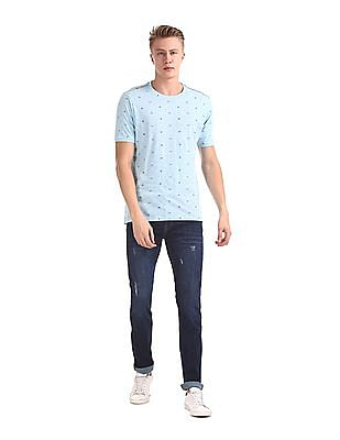 Cherokee Blue Printed Slim Fit T-Shirt