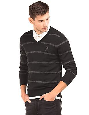 U.S. Polo Assn. V-Neck Striped Sweater