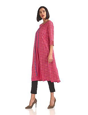 Anahi Flared Kurta With Printed Cover-Up