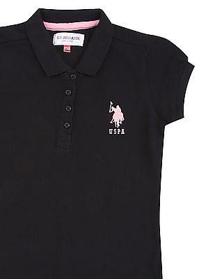 U.S. Polo Assn. Kids Girls Puff Sleeve Pique Polo Shirt