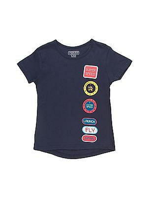 Cherokee Girls Applique Printed T-Shirt