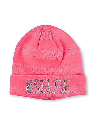 The Children's Place Girls Embroidered 'Selfie' Metallic Threaded Glitter Striped Hat