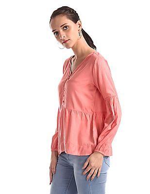 Cherokee Pink V-Neck Lantern Sleeve Top